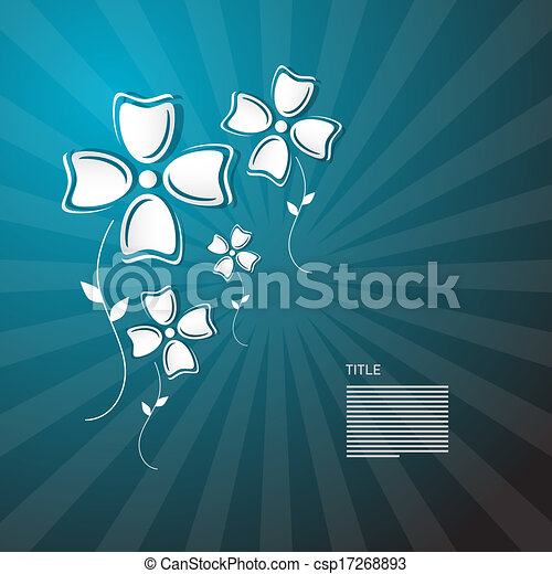 Abstract Paper Flowers on Blue Background  - csp17268893