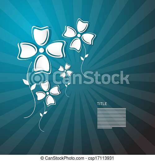 Abstract Paper Flowers on Blue Background  - csp17113931