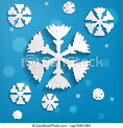 abstract paper snowflakes on blue background - csp18451984