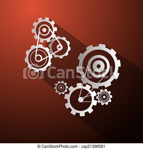 Abstract Paper Vector Cogs - Gears on Red Background - csp21396581