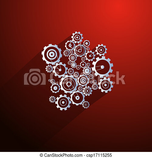 Abstract Paper Vector Cogs, Gears on Red Background - csp17115255
