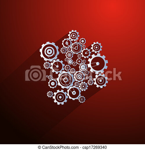 Abstract Paper Vector Cogs, Gears on Red Background - csp17269340