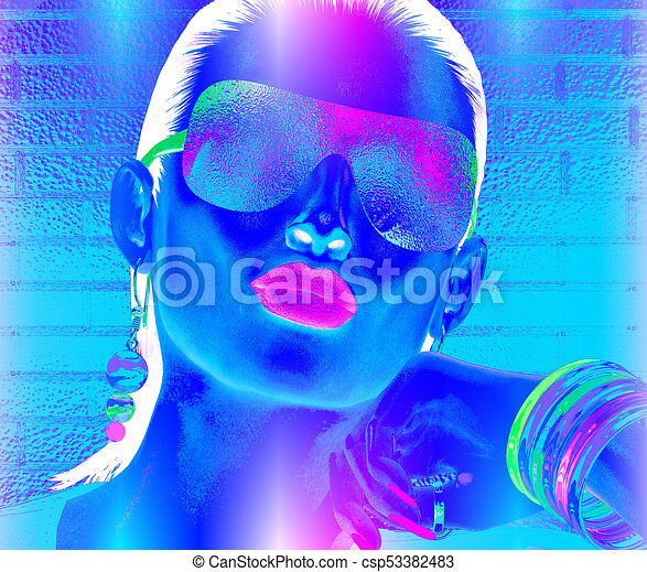 Abstract party girl, close up face, blue, pink and white - csp53382483