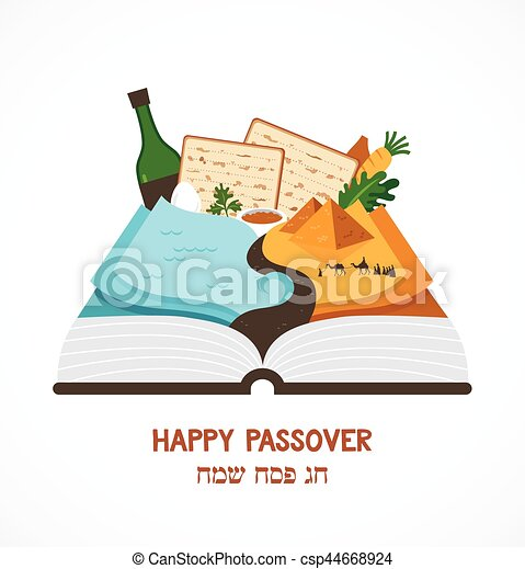 abstract passover story haggadah book over traditional food and Mozes - csp44668924