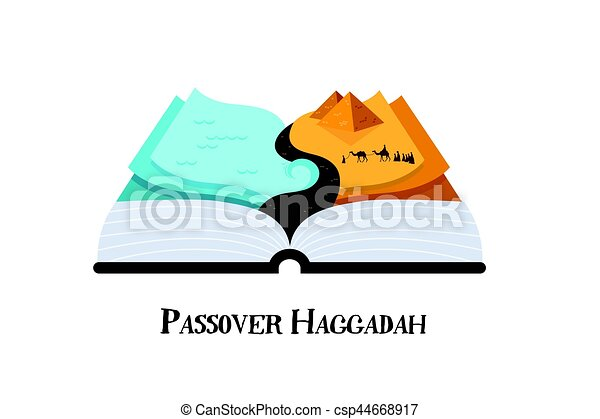 abstract passover story haggadah book . Jews out of Egypt. design vector illustration - csp44668917