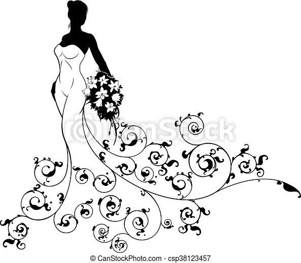 Abstract Pattern Wedding Bride Silhouette Wedding Bride Silhouette