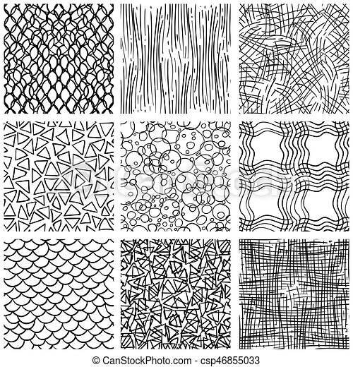Abstract Pen Sketch Seamless Pattern Set Hand Drawn Doodle Thin Adorable Line Pattern Vector
