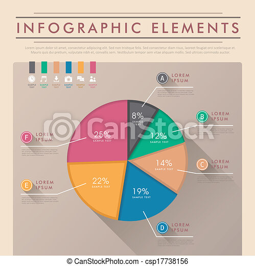 Abstract Pie Chart Infographics Flat Style Vector Abstract Oie