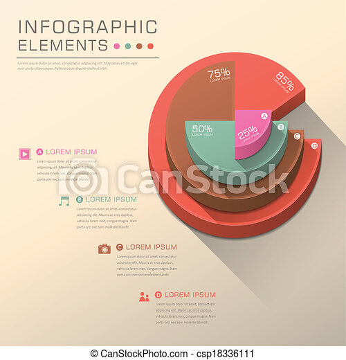 Abstract Pie Chart Infographics Vector Abstract Pie Chart Flat