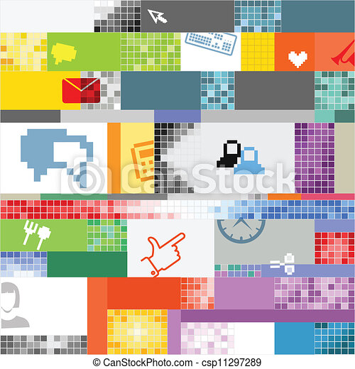 Abstract pixel art color background - csp11297289