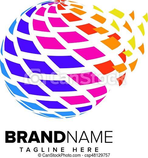 Abstract Pixel Media, Technology Logo - csp48129757