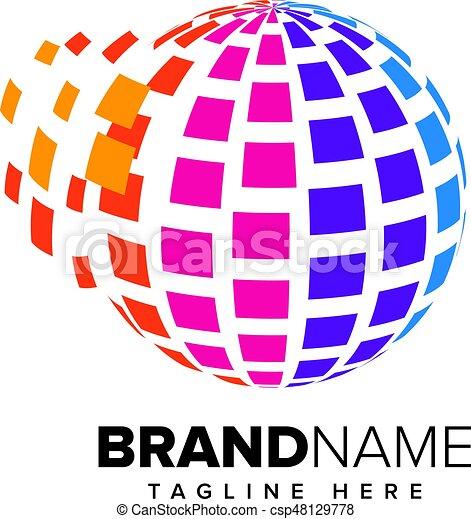 Abstract Pixel Media, Technology Logo - csp48129778