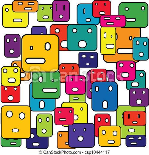 abstract, pleinen, uitdrukkingen, gezichts - csp10444117