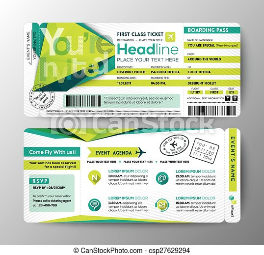 Abstract Polygon design Boarding Pass Event Ticket Invite card - csp27629294