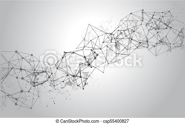 Abstract Polygonal Space Background with Connecting Dots and Lines - csp55400827