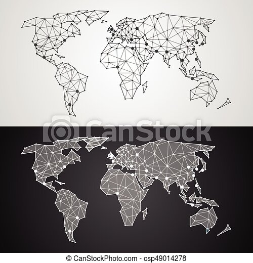 Abstract polygonal world map from triangles and dots vectors abstract polygonal world map from triangles and dots csp49014278 gumiabroncs Choice Image