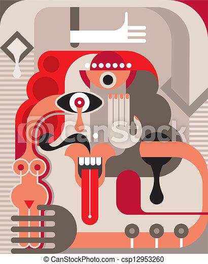 Abstract portrait  - csp12953260