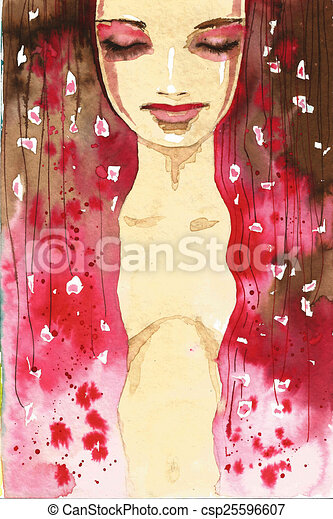 abstract portrait woman - csp25596607