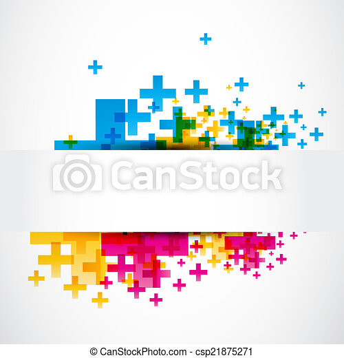 abstract positive plus sign banner - csp21875271