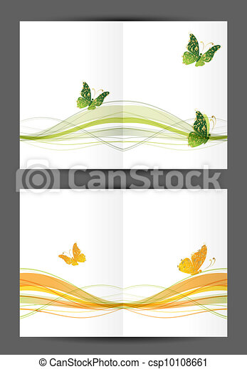Abstract postcard with butterflies, cover and inside page. Design for your print - csp10108661