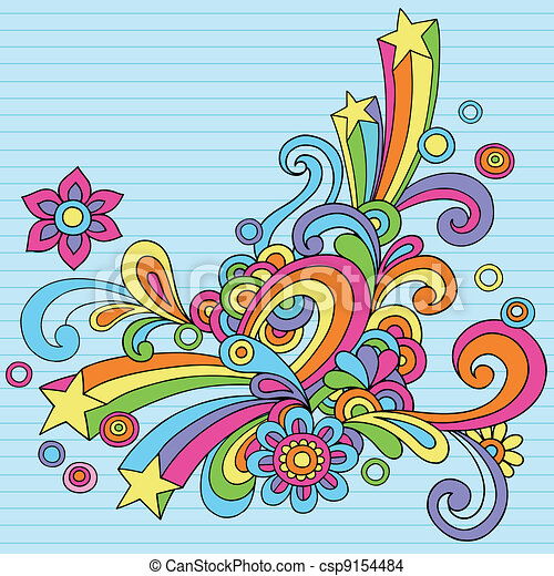 Abstract Psychedelic Retro Doodles - csp9154484