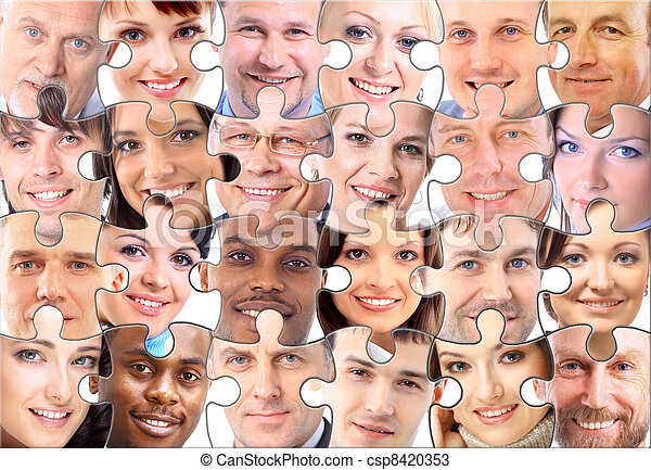 abstract puzzle background with face - csp8420353