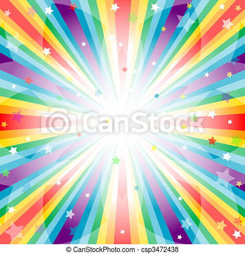 Abstract rainbow  background  with rays - csp3472438