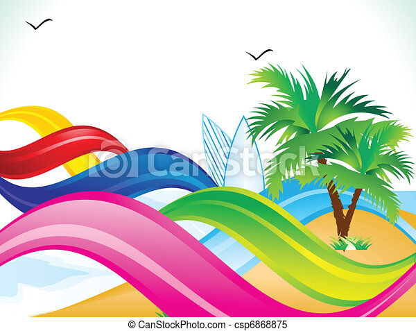 abstract rainbow beach background vector illustration clipart vector rh canstockphoto com  beach clipart no background