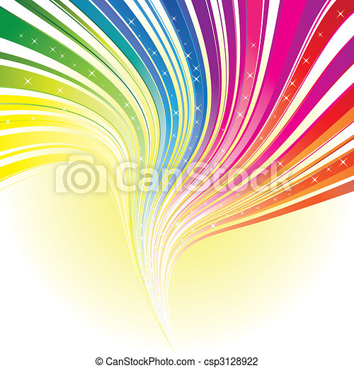 Abstract rainbow color stripe background with stars - csp3128922