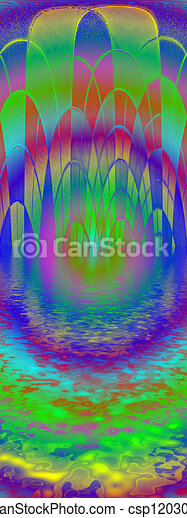 abstract rainbow mosaic reflected in water, disco - csp12030189