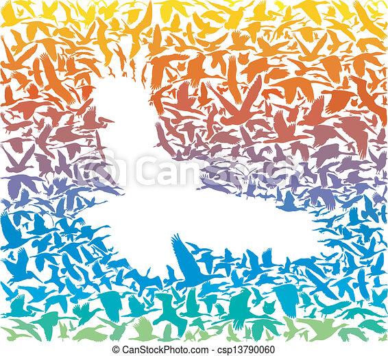 abstract rainbow predator bird and many birds flying in the black