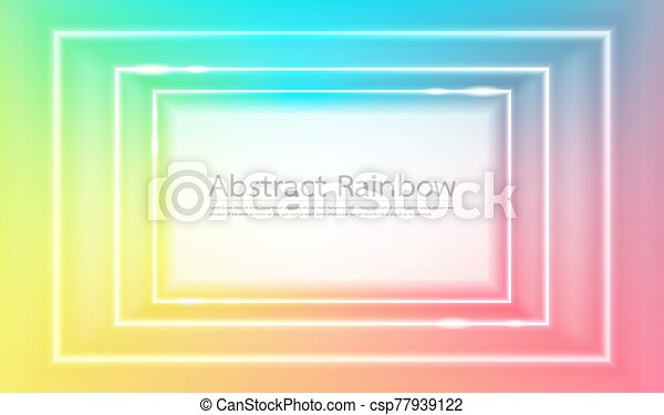 Abstract rainbow squares frame background vector - csp77939122