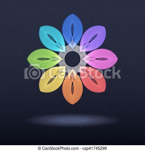 Abstract Rainbow Symbol - Octagonal Flower. - csp41745299