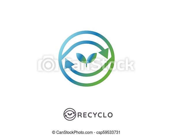abstract recycle logo cycle arrow symbol icon template isolated on