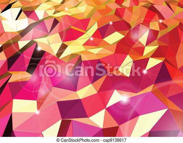 Abstract red background. Combination of triangle. Vector - csp9138617