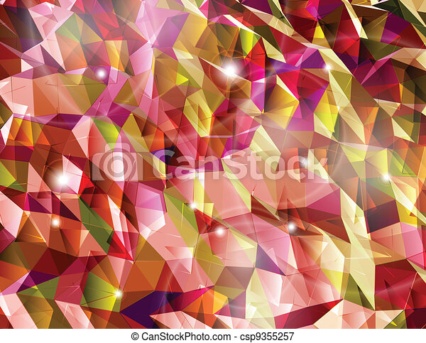 Abstract red background. Combination of triangle. Vector - csp9355257