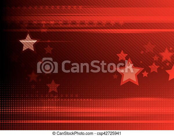 Abstract red background with stars - csp42725941