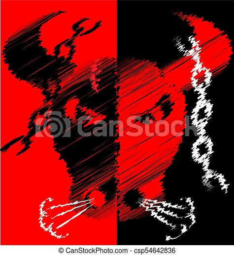 abstract red black image of bull - csp54642836