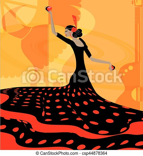 abstract red-black woman and flamenco - csp44878364