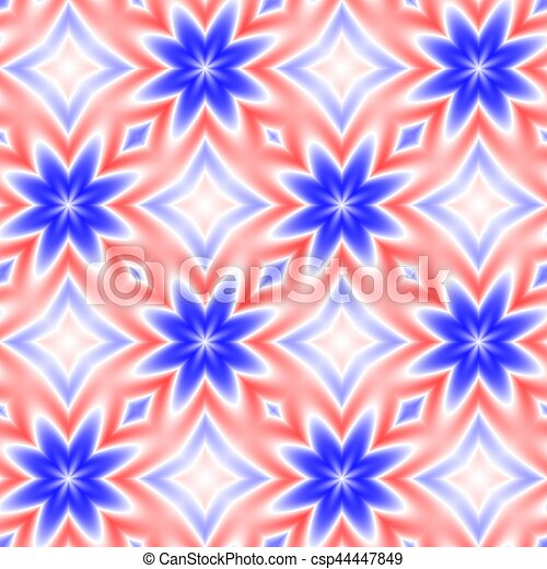 Abstract Red Blue And White Floral Pattern Tile Texture Background Seamless Illustration