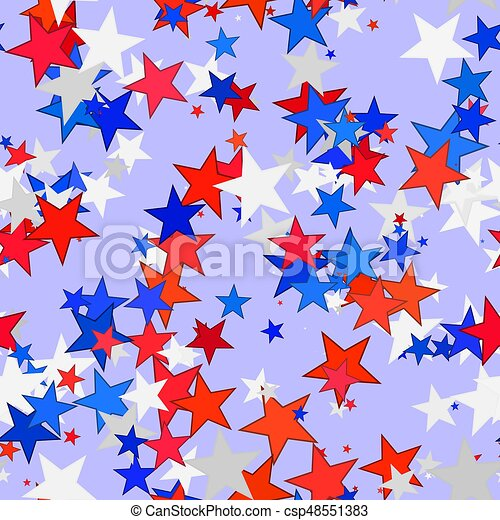 Abstract Red Blue And White Stars Colorful Starred Pattern On Violet Background Seamless Simple Multicolor Starry Texture
