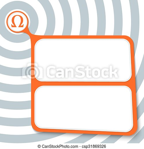Abstract Red Box For Your Text And Omega Symbol Vector Illustration