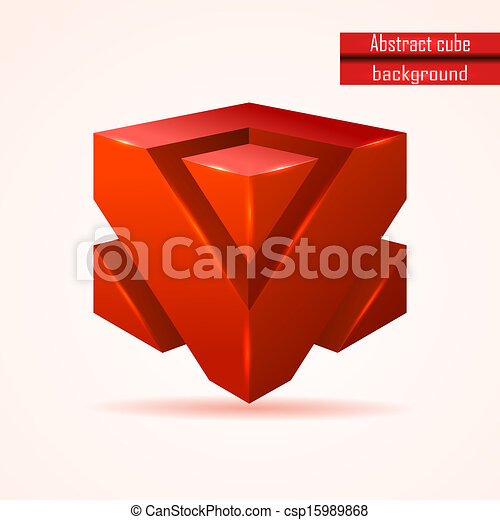 abstract red cube vector - csp15989868