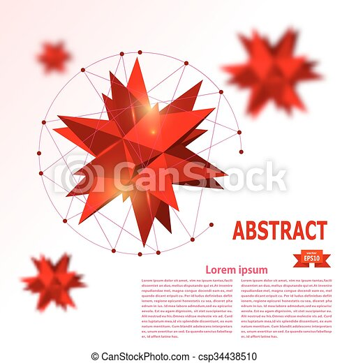 Abstract red geometric background - csp34438510