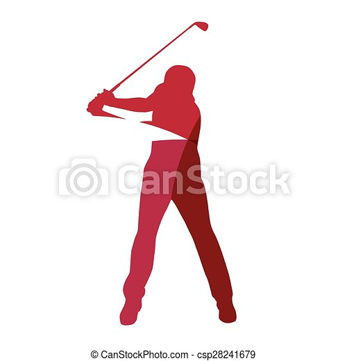 Abstract red golf player geometric silhouette - csp28241679