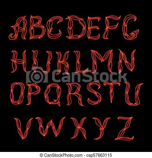 Abstract  red plexus neon font. - csp57663115