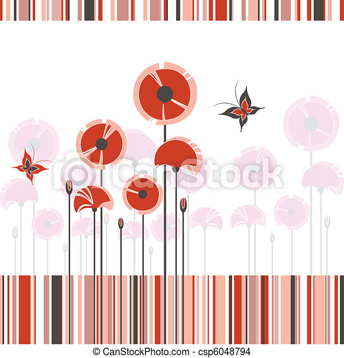 Abstract red poppy on colorful stripe background - csp6048794