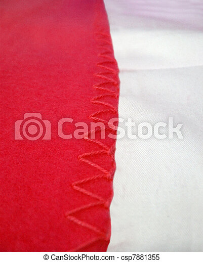 abstract red seam edging, textile details - csp7881355