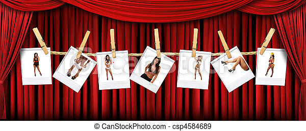 Abstract Red Theatre Stage Drape Background With Sexy Polaroids of a Hot Female - csp4584689