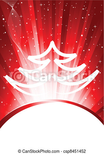 Abstract red xmas background with tree - csp8451452